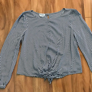 Bebe Blue And White Striped Long Sleeve Shirt